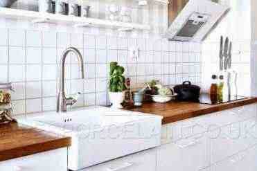 White Kitchen - Wooden Worktops