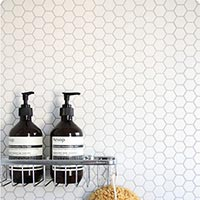 Hexagon Nature White Mosaic