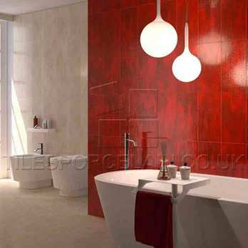 Hall Red Bathroom with 36R Tiles