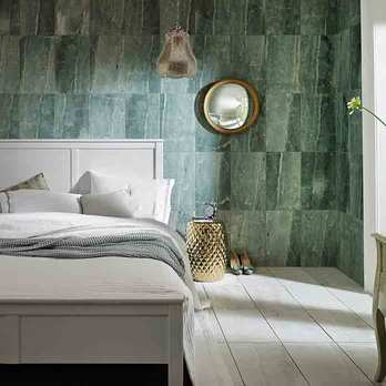 Green Tiles in Bedroom