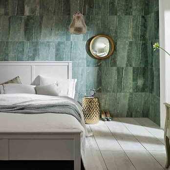 Green Tiles in Bedroom