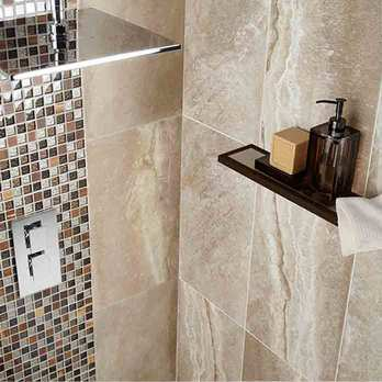 Grey Stone-Effect Bathroom Tiles