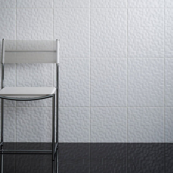 Tundra White Structured Gloss Ceramic Tile