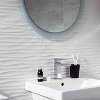 Eminence White Ripple Satin Tiles
