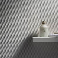 Eminence White Weave Satin Tiles