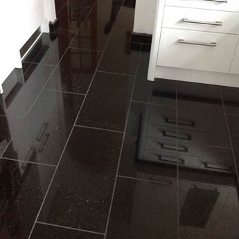 Sparkly black floor tiles