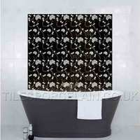 Laura Ashley Isadore Floral White On Black Black Ceramic Tile