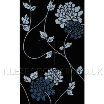 Laura Ashley Isadore Floral White On Black Ceramic Tiles