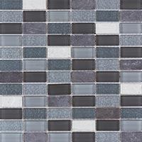 Silver Marble And Glass Mosaic Tiles