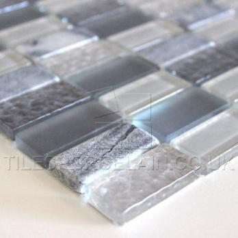 Silver Marble And Glass Mosaic