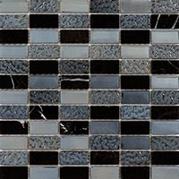 Black Glass And Marble Mosaic Tiles