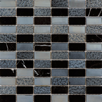 Black Glass And Marble Mosaic