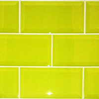 Green-yellow Metro Brick Effect Tiles