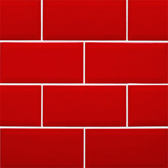 Red Metro Brick Effect Tiles