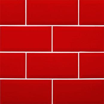 Red Metro Brick Effect Tile