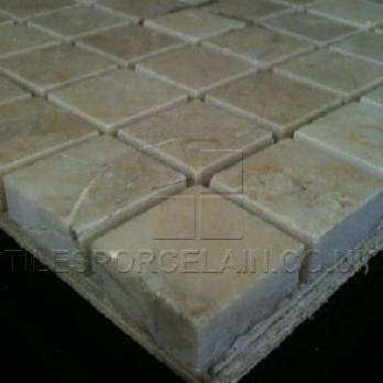 Polished Crema Marfil Mosaic Marble Tiles