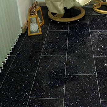 Cosmos Black Quartz Tiles (Blue Sparkle)