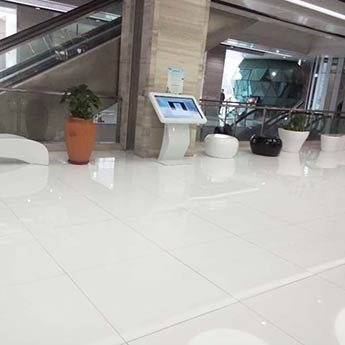 Snow White Engineered Glass Tiles - White Floor Tiles | Tilesporcelain