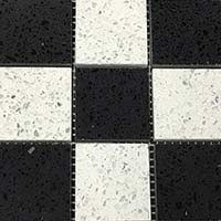 Diamond White Midnight Black Quartz Mosaic Tiles
