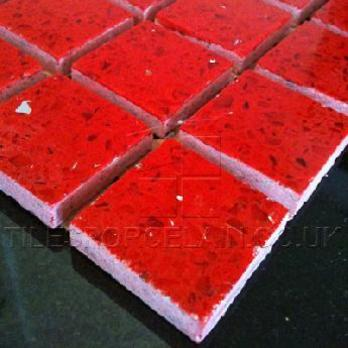 Ruby Red Quartz Mosaic Tiles