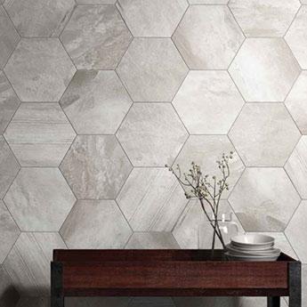 Country Brick Light Grey Hexagon