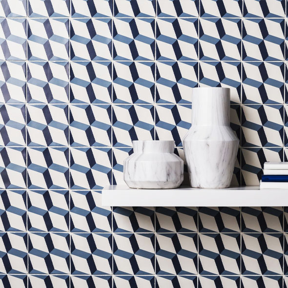 Soho Blue Cube Decor Matt Tiles