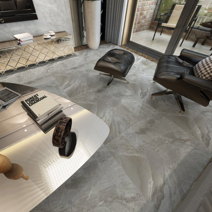 Light Grey Marble Effect Polished Porcelain
