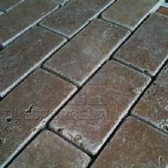 Sicily Noce Brick Travertine Tiles