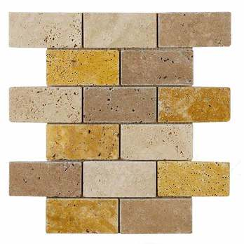 Sicily Noce Yellow White Brick Travertine Mosaics