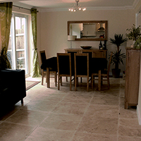 Dark Travertine Effect Porcelain Tiles