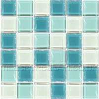 Crystalline Aqua Mix Mosaic Tiles