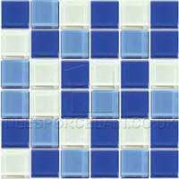Crystalline Azure Mix Mosaic Tiles